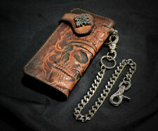 Custom Biker Fire  carving skull Long Wallet Genuine Leather+chain Freeshipping