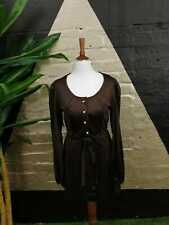Original Vintage1960s Sixties Mod Brown Midi Dress Faux Pearl Buttons