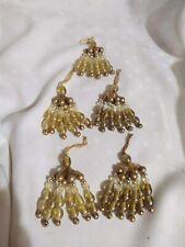 5 Lamp Candle Part Glass & Wood Bead Beaded Tassel VTG MCM Art & Craft Jewelry