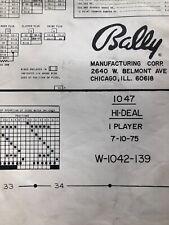 Bally Hi Deal Pinball Machine Schematic