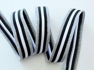 """NEU Galonband """"silber-schwarz-weiß """", Galonstreifen, Jerseyband,  2,5 cm breit"""