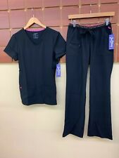 NEW Heartsoul Black Solid Scrubs Set With Small Top & Small Pants NWT