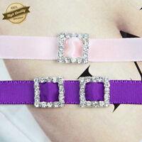 10 Pcs 12mm Crystal Rhinestone Ribbon Buckle Slider Wedding  Invitations Craft