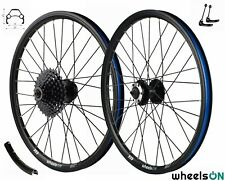 20 inch wheelsON Front Rear Wheel Set+8 Spd Shimano Cassette Disc Brake QR Black