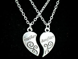 2 PCS Set Mother and Daughter Forever Love Heart Necklace Pendant Birthday Gift