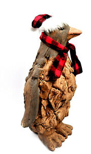 Christmas Penguin Primus Wood Effect Frost Proof Ornament Garden Home Animal
