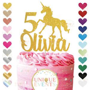 Unicorn Cake Topper Custom Glitter Unicorn Cake Personalised Name Age Unicorn