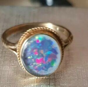 9ct gold 375 hallmarked Australian Opal ring Size P not scrap UNUSUAL 2.6 gram