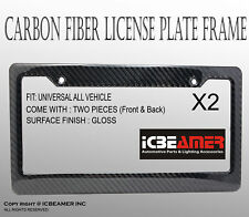 JDM 2 pcs Black Carbon Fiber Custom License Plate Snap Frame Auto Car Truck D110