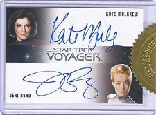 Star Trek Voyager Heroes & Villains Kate Mulgrew Jeri Ryan Dual Autograph Card!