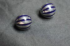 Tiffany & Co Enamel Domed Sterling Silver Earrings Pierced Omega Back, Rare