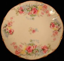 """Bawo & Dotter Limoges  Pink Roses & White Daisies 7"""" Plate with Gold Trim ."""