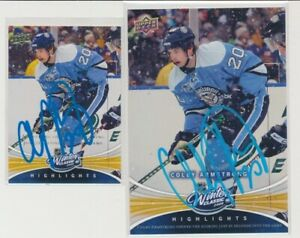 RARE SIGNED 08-09 UD WINTER CLASSIC OVERSIZE & REGULAR ARMSTRONG PENGUINS