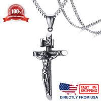 Stainless Steel Jesus Christ Crucifixion Cross Men's & Women's Pendant Necklace