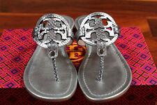 LAST 1 NIB Tory Burch Silver Glossy Snake Print Miller Leather Sandal Thong 7.5