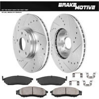 Front Kit Drilled And Slotted Brake Rotors & Ceramic Pads For Infiniti Nissan