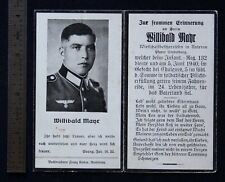 Wwii German Funeral Card Sterbebild Willibald Mayr June 5 1940 Ghuignes France