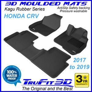 Fits Honda CR-V CRV 2017 to 2021 Genuine 3D BLACK Rubber Car Floor Mats F&R