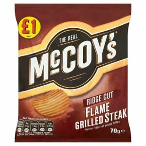 16x Flame Grilled Steak Flavoured McCoy's Crisps 65g Large Bags Box Pack of 16