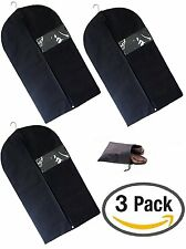 "Garment Bag 3 pack Black Breathable Suit Cover 45"" x 24"" With Shoe Bag Travel"