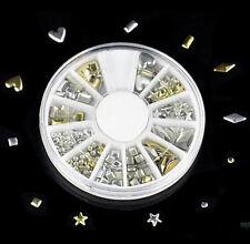 120Pcs Gold Silver Wheel Metal Nail Art Tips Metallic Studs Stickers 2 Colors CH