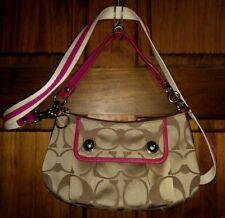 Coach Poppy Khaki & Pink Signature Cross-body Shoulder Handbag Purse 13833