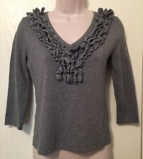 Cable & Gauge Petites Sweater Small Pale Gray Sexy Ruffled V-Neck 3/4 Sleeve