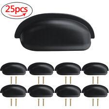 25X Matte Black Cabinet Pull Cupboard Handle Door Kitchen Drawer Knob Shell Cup