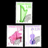 France 1990 - Musical Instruments - Pre-cancelled - Sc 2227/9 MNH