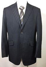 J.FERRAR Men's Sports Coat Med 2 Button Black Pinstripe Jacket Blazer