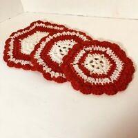 Lot Of 3 Vintage Red And White Crocheted Doilies Or Hot pads