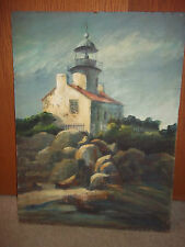 LIGHTHOUSE BY THE SEA BY E. ROSSI - OLD AND BEAUTIFUL - NO FRAME