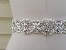 "Wedding Dress Bridal Sash Belt - Pearl Crystal Wedding Sash Belt = 18"" long"