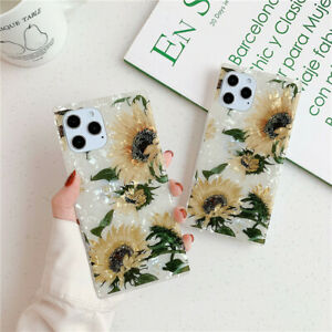 Square Floral Shockproof Phone Case Shell For iPhone 12 Mini 11 Pro 7 XR Xs Max