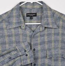 Yves Saint Laurent Men's Sz Large Linen Blend Gray Yellow Geometric Plaid Shirt
