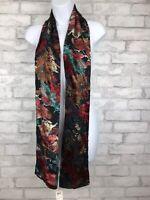 """Loft Elegant Rayon Blend Burnout Velvet Black Teal Floral Skinny Scarf 69x5.5"""""""