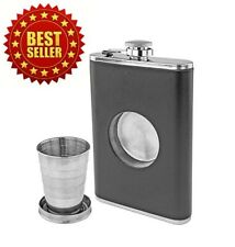 Leather Clad Stainless Steel FLASK with Built-in Collapsible Shot Glass