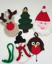 crochet rudolph reindeer ornament-robin-snowman-santa-crochet christmas