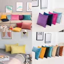 Soft Velvet Throw Pillow Case Cushion Cover Solid Color Sofa Car Home Decor♡