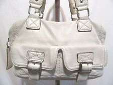 Michael Kors Medium Size Ivory/Bone Leather Shoulder Satchel Handbag