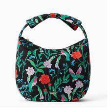 NEW KATE SPADE Floral Green Garden Bird Pattern Hobo Bow Shoulder Bag purse