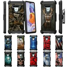 For LG Stylo 6 Full Body Armor Rugged Holster Belt Clip Case