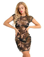 Women Camouflage Mesh Sheer Bodycon Pencil Evening Clubwear Party Mini Dress