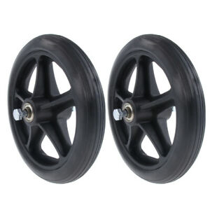 2x Professional Wheelchair Front Castor Wheels Replacement Part Black 7 inch .