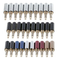 10x 4-Pole Copper Gold Plated 3.5mm Male Stereo Audio Jack Plug Solder Connector