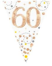 White & Rose Gold Fizz Happy 60th Birthday Bunting 3.9 metres long 11 Flags