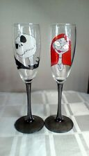 Jack Skellington Sally Champagne Flutes Pair Hand Painted Wedding Gift Glasses