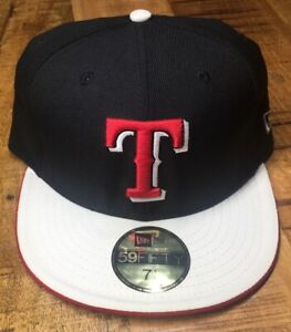 New Era Texas Rangers Hat Black, White & Red Fitted Cap 7-1/8 *see description*