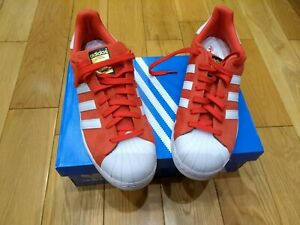Mens Adidas Red Suede Superstar Trainers UK Size 9.5 BNWOT