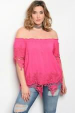 NEW..Stylish Plus Size Fuschsia Off the Shoulder Top with Lace Detail.Sz18/3XL